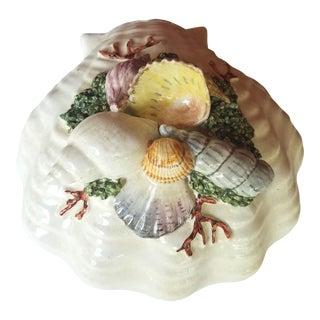 1950s Italian Ceramic Scallop Shell Box Encrusted With Seashells For Sale