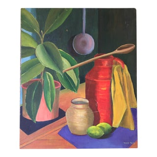 Acrylic Still Life Painting on Canvas Board by Eileen Berry For Sale
