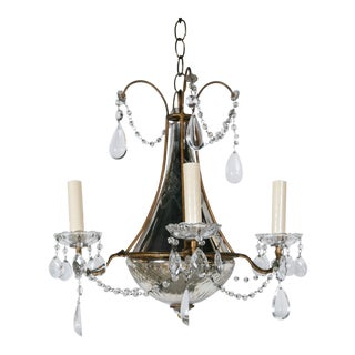 1920s French Mirrored Chandelier with Crystal Pendants For Sale