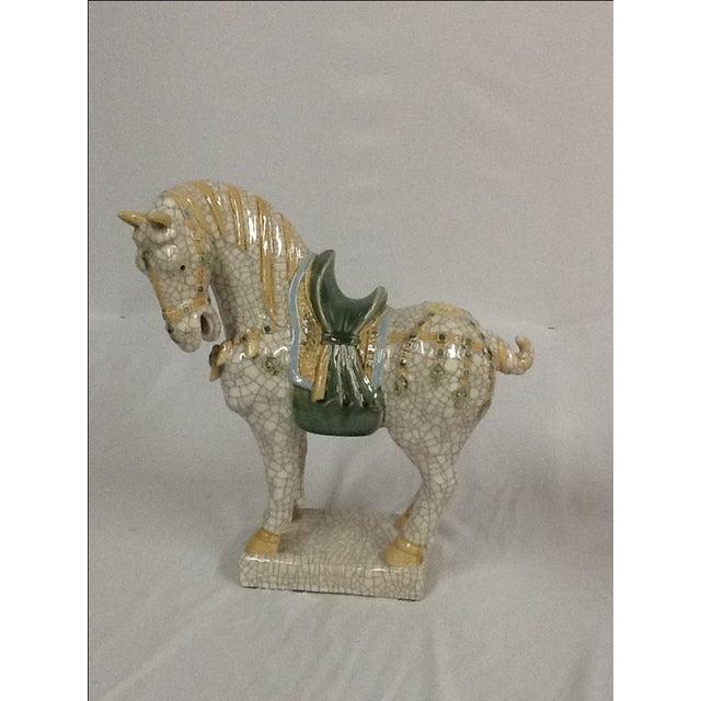 Italian Ceramic Crackle Horses - A Pair For Sale In Miami - Image 6 of 6