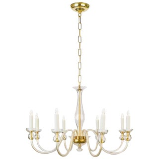 Murano Amber Glass Eight-Arm Chandelier For Sale