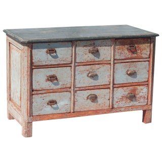 Red and Grey Painted Nine-Drawer Chest For Sale