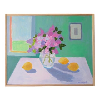 Lilac Flowers and Lemons by Anne Carrozza Remick For Sale