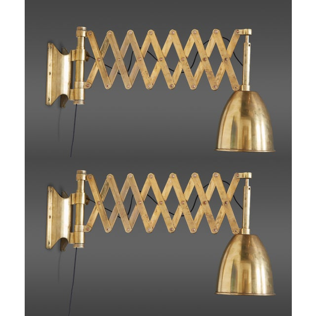 Pair of Italian Brass Extendable Library Lamps For Sale - Image 10 of 10