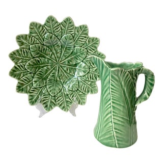 Vintage Green Majolica Pitcher and Serving Platter For Sale
