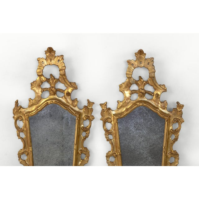 French Pair of Small-Scale Carved French Rococo Style Mirrors; France, Circa 1890 For Sale - Image 3 of 7