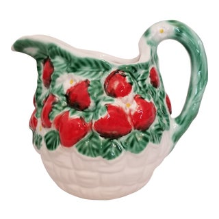 Vintage Italica Ars Strawberry Embossed Ceramic Pitcher For Sale