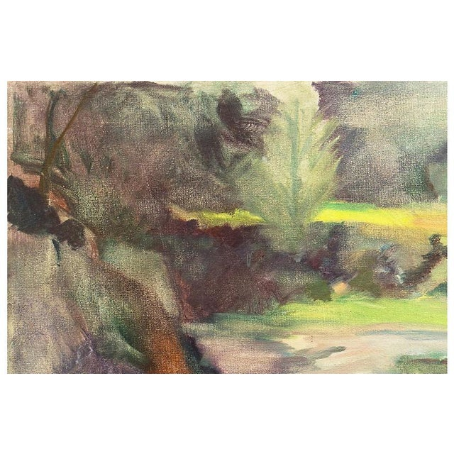 A period oil landscape painting of a river flowing through an intimate, forested gully in the springtime. Signed and...