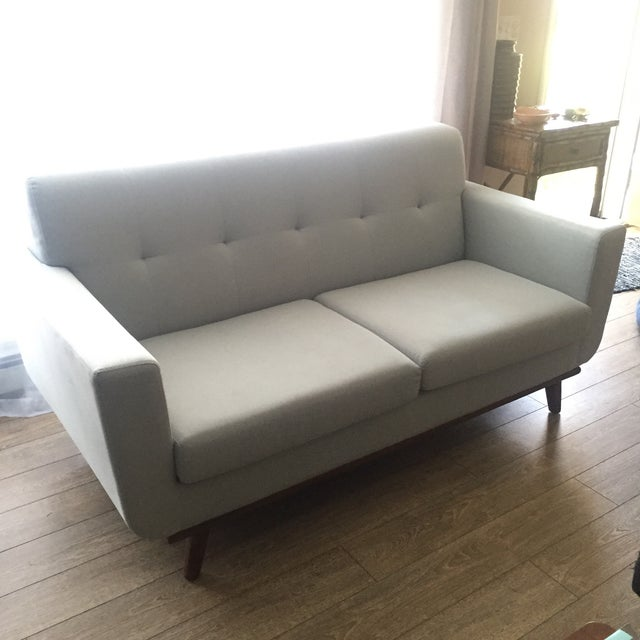 Mid-Century Blue Gray Loveseat - Image 8 of 8