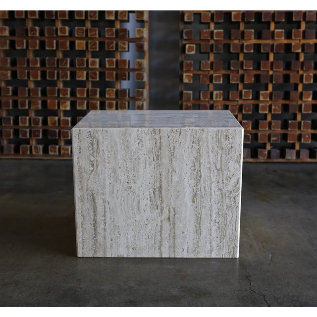 1975 Mid-Century Modern Travertine Pedestal or Side Table For Sale - Image 13 of 13