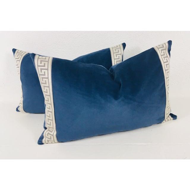 Royal Blue Plush Velvet Lumbar Pillows - a Pair For Sale - Image 4 of 5
