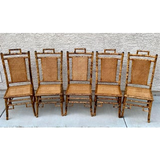1950s Vintage Tortoise Shell Chippendale Chinoiserie Bamboo Dining Chairs - Set of 5 Preview