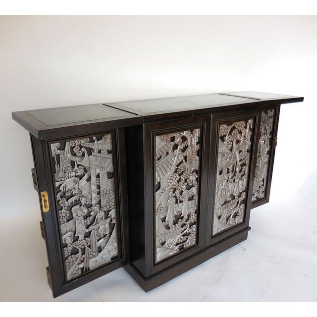 Asian Folding Hand-Carved Dry Bar For Sale - Image 3 of 11