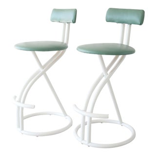 1980's Postmodern Tubular Steel White and Green Bar Stools by Cal-Style - a Pair For Sale