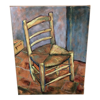 Still Life Rush Seat Painting For Sale