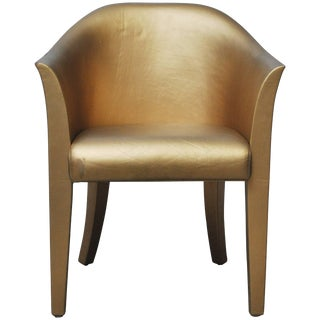 Karl Springer Gold Leather Armchair For Sale