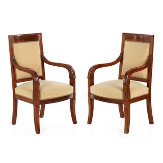 Empire Mahogany Arm Chairs, Early 20th Century - Pair For Sale