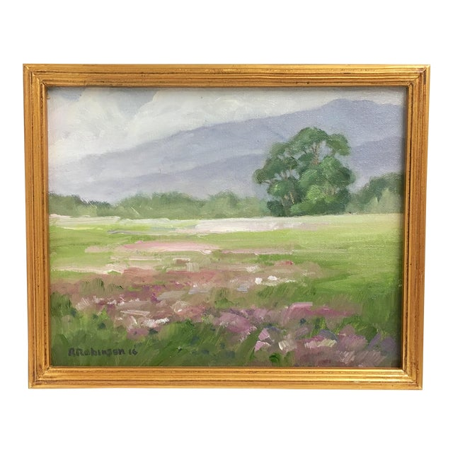 """Breaking Rain"" Framed Landscape Oil Painting - Image 1 of 4"