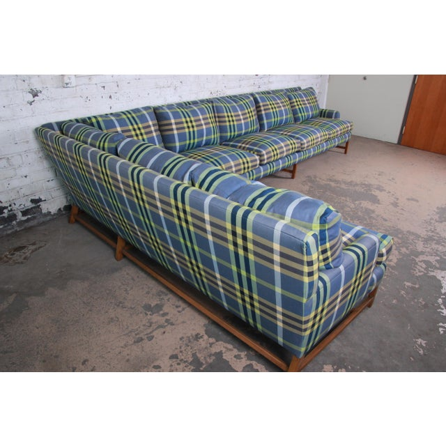 Late 20th Century A. Rudin Down Filled Two-Piece Sectional Sofa in Plaid Upholstery For Sale - Image 5 of 13