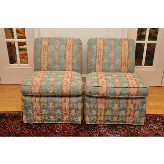 Piedmont Brunschwig & Fils slipper chair is a classic form with quality construction. Upholstered in a traditional fabric...