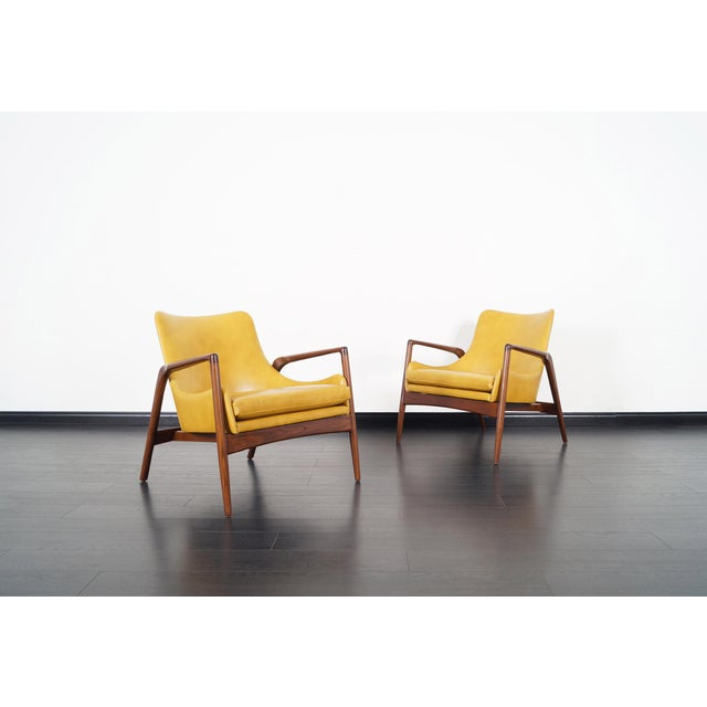 1950s Danish Modern Leather Lounge Chairs by Ib Kofod Larsen For Sale - Image 5 of 13