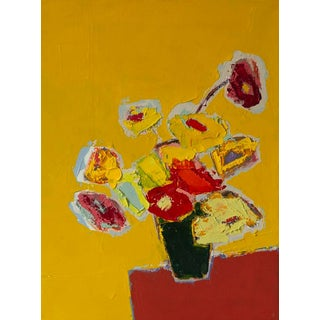 """Bill Tansey """" Mixed Yellow """" Abstract Floral Oil on Linen For Sale"""