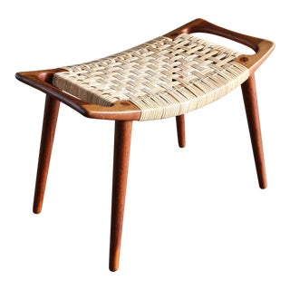 1950s Hans Wegner for Johannes Hansen Teak and Cane Stool For Sale
