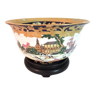 Vintage 'European Hunting Scene' Porcelain and Gilt Chinese Export Bowl With Turned Rosewood Stand For Sale