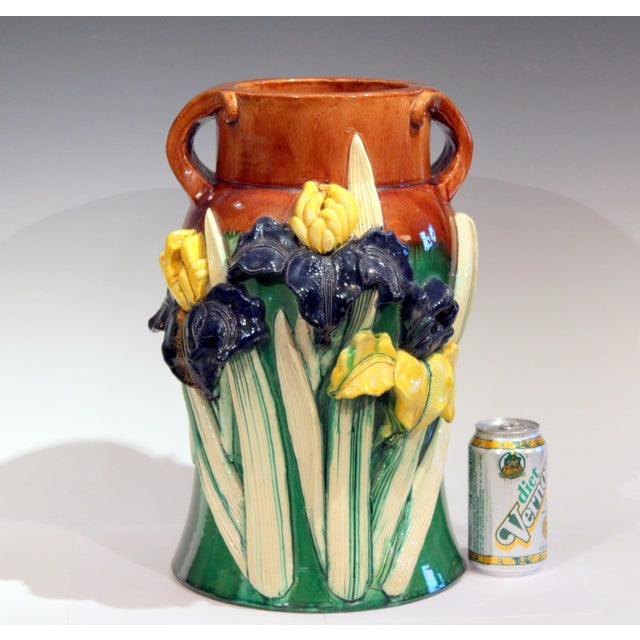 Large 1920s Awaji Pottery Antique Applied Irises in Deep Relief Vase For Sale - Image 9 of 13