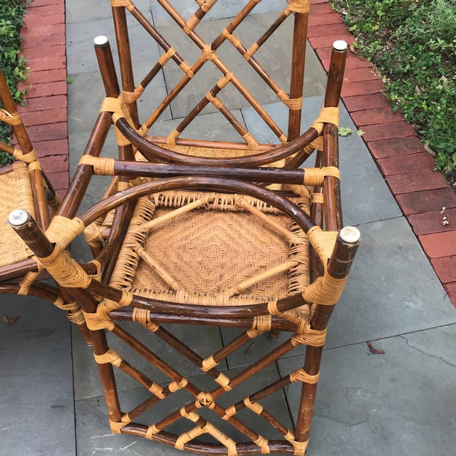 1960s Traditional Bamboo and Rattan Chairs - Set of 4 For Sale - Image 10 of 11