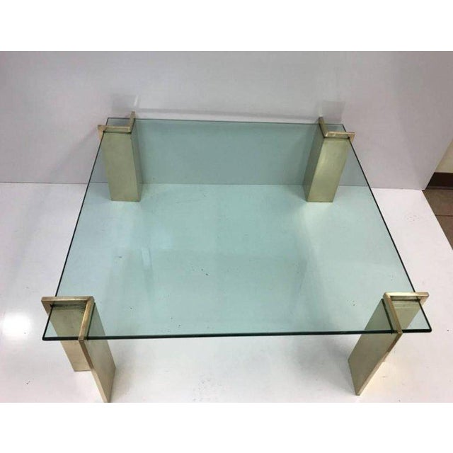 Mid-Century Modern Polished Bronze and Glass Coffee Table For Sale - Image 3 of 6