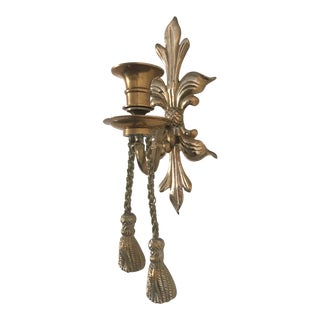 1970s Vintage Brass Rope and Tassel Sconce For Sale