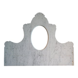 French Marble Back Splash With Oval Mirror For Sale