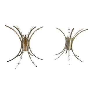 1970's Mid-Century Modern Chromed Artichoke Bamboo Table Bases - a Pair