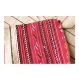 Image of Grain Sack Antique Pillow Cover Folk Art Hand-Woven Red & Black Stripes Textile For Sale