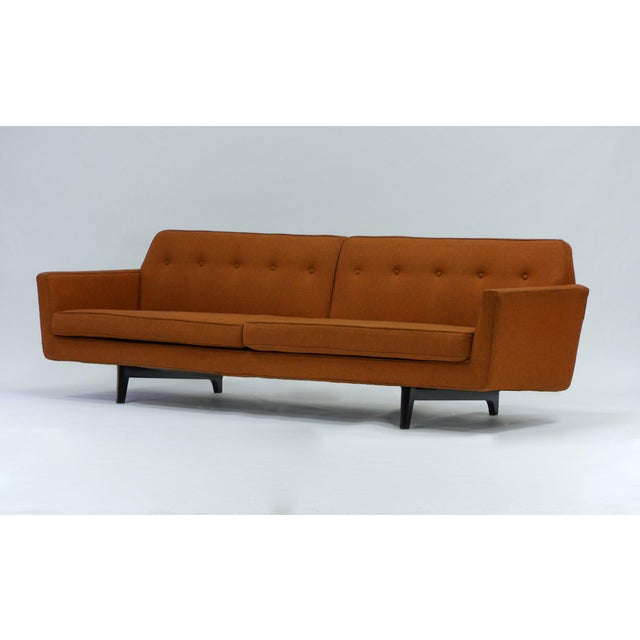 Orange Pair of Bracket Back Sofas by Edward Wormley for Dunbar For Sale - Image 8 of 8