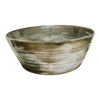 1977 Large Studio Olive and Cream Terra Cotta Salad Bowl For Sale