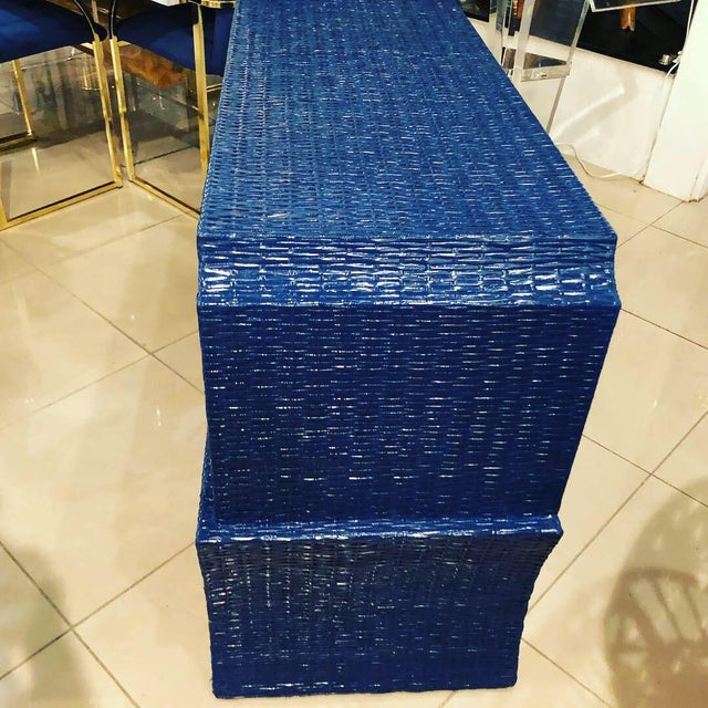 Vintage Blue Lacquered Wicker Brass Credenza Chest Console Table For Sale In West Palm - Image 6 of 13