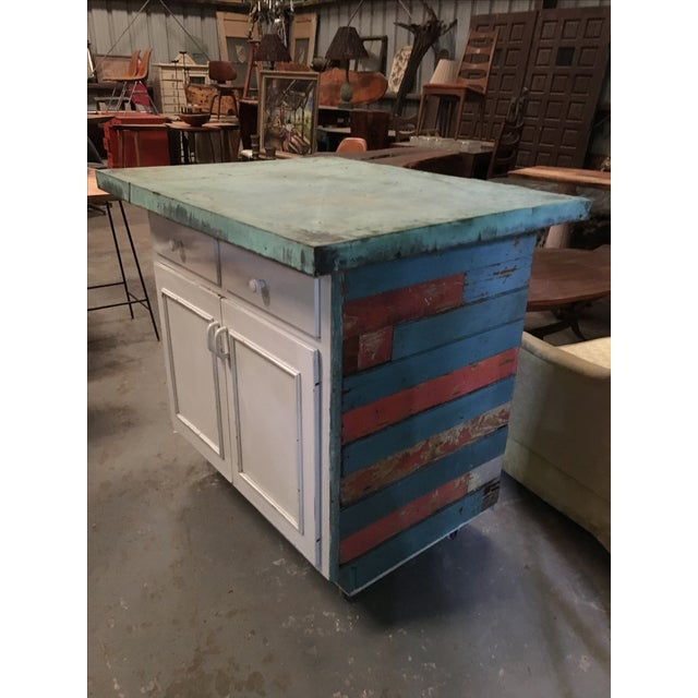 Vintage Copper Top Chippy Wood Cabinet - Image 2 of 6