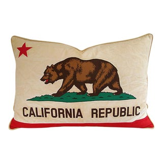 "Custom Tailored California Republic Bear Flag Feather/Down Pillow 31"" X 22"" For Sale"