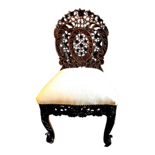 Anglo-Indian Carved Rosewood Side Chair Raj Period For Sale