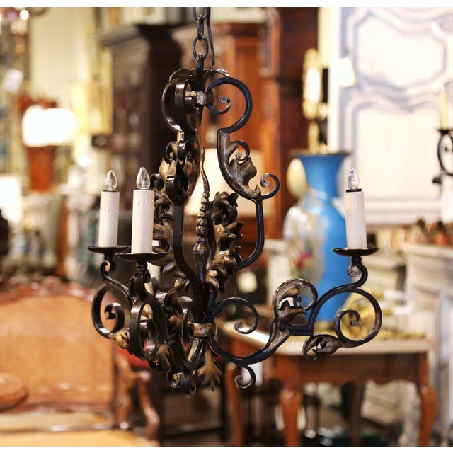 Metal 19th Century, French Louis XV Iron Black and Gilt Painted Three-Light Chandelier For Sale - Image 7 of 9