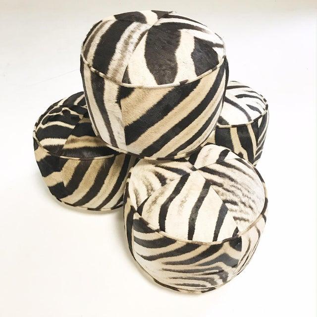 Zebra Hide Pouf Ottoman For Sale - Image 4 of 6