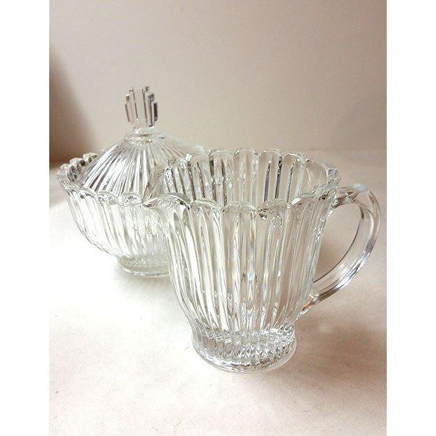Cut Glass Creamer and Sugar - A Pair - Image 2 of 5