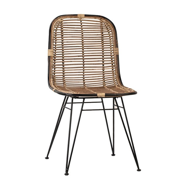 Boho Chic Rattan & Black Dining Chair For Sale - Image 3 of 3