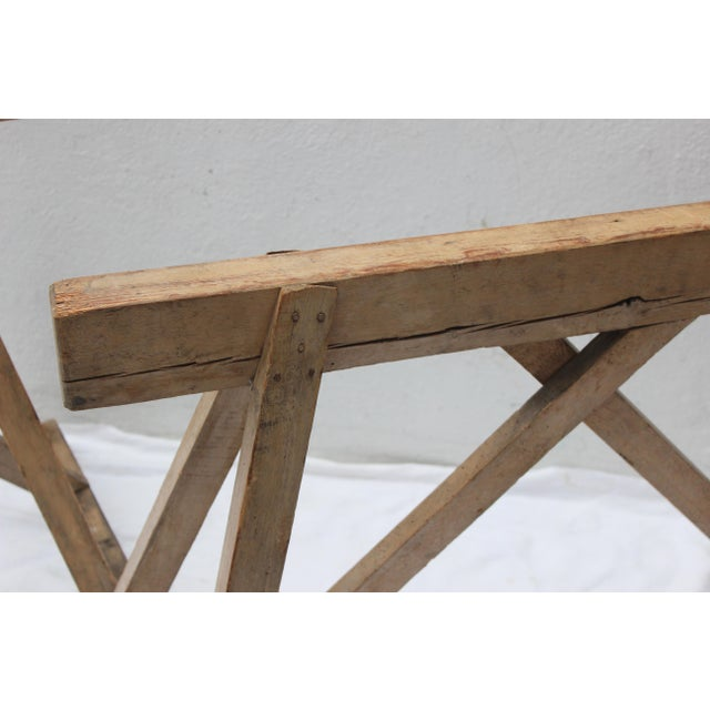 19th Century French Country Wood Saw Horse Table Bases - a Pair For Sale - Image 9 of 13
