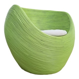Green Tropical Chic Rattan Club Chair For Sale