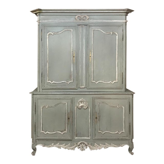 18th Century Country French Painted Provincial Buffet a Deux Corps For Sale