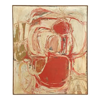 1961 Signed Abstract Expressionist Oil on Canvas Painting