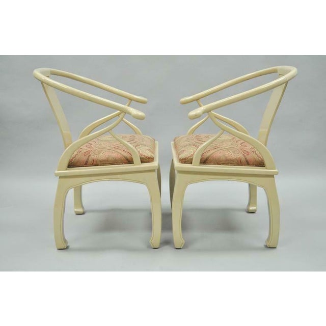 1970s Vintage Cream Lacquered James Mont Style Ming Horseshoe Lounge Chairs - A Pair For Sale - Image 5 of 10